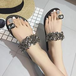 Shoeland - Embellished Toe Loop Sandals