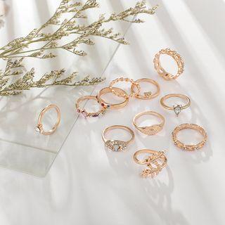 Yongge - Set of 11: Rhinestone Ring (assorted designs)