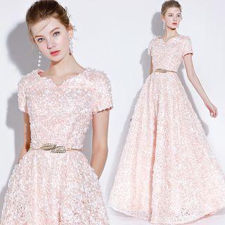 Sennyo - Short Sleeve Frayed Evening Gown
