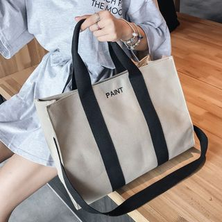 Youme - Lettering Canvas Tote Bag with Shoulder Strap