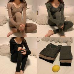 NekNem - Pajama Set: Long-Sleeve Plain T-Shirt + Pants