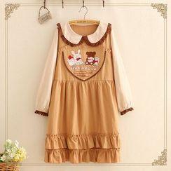 Kawaii Fairyland - Long-Sleeve Animal Embroidery A-Line Dress