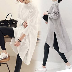 Arroba - Plain Long-Sleeve T-Shirt Dress