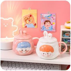 Momoi - Cartoon Ceramic Mug with Lid