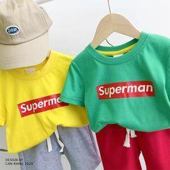 Shaneebabe - Set: Kids Lettering Short-Sleeve T-Shirt + Shorts