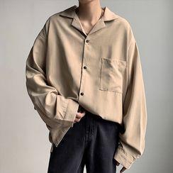 JUN.LEE - Long Sleeve Pocket Front Plain Shirt