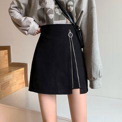monroll - Zip Detail Mini A-Line Skirt
