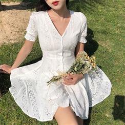 Alfie - 蕾丝V领短袖修身连衣裙