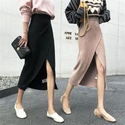 OGAWA - 開衩針織中裙