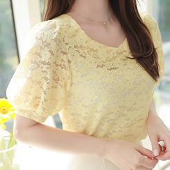 MyFiona - Sweetheart-Neck Puff-Sleeve Lace Top