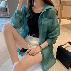 Kira Kira - Long-Sleeve Sheer Shirt