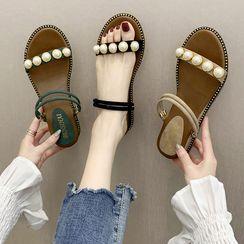 JIP - Faux Pearl Wedge-Heel Slide Sandals