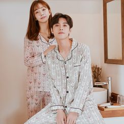 Endormi - 情侣款家居服套装: 印花衬衫 + 裤子