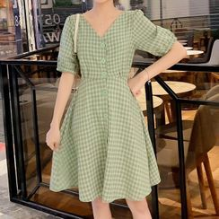 EZ Life - Maternity Short-Sleeve Buttoned Plaid A-Line Midi Dress