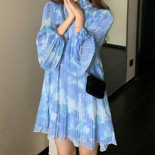 ANNZ(アンズ) - Tie-Neck Floral Print Pleated Chiffon Dress