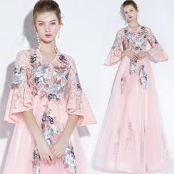 Sennyo - Embroidered Bell-Sleeve A-Line Evening Gown