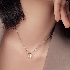 Tenri - Stainless Steel Rhinestone Pendant Necklace