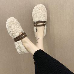 Miloko - 抓毛饰扣平跟鞋