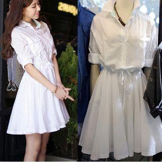 Lumierii - Collared Drawstring 3/4-Sleeve A-Line Dress
