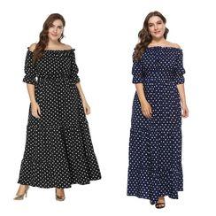 Chelsie Chic - Plus Size Off-Shoulder Dotted A-Line Dress