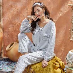 Mayonnaise - Pajama Set: Long-Sleeve Knit Top + Pants