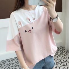 Tiny Times - Elbow-Sleeve Rabbit Print T-Shirt