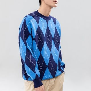 Orizzon - Round Neck Argyle Sweater