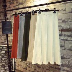 ZELE - Midi A-Line Knit Skirt