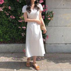 Yunhouse - Short-Sleeve Frill Trim A-Line Midi Dress