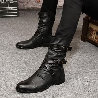Goldtrench Shoes - Strapped Mid Calf Boots