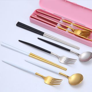 Culinary Atelier - Set: Stainless Steel Chopsticks + Spoon + Fork + Case
