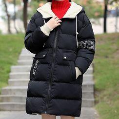 YICON - 抽繩連帽夾棉大衣