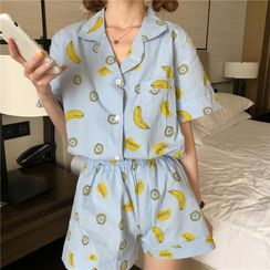 Tanee - Pajama Set: Print Short-Sleeve Top + Shorts