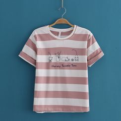 Kawaii Fairyland - Cat Print Color-Block Short-Sleeve Tee