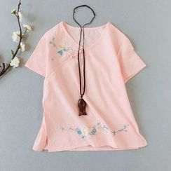 Vateddy - Embroidered Short-Sleeve T-Shirt