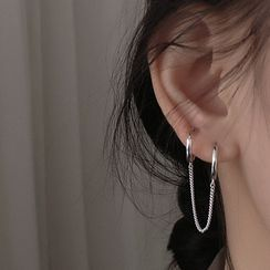 Metallique - 925 Sterling Silver Chain Earring