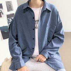 Newise(ニュワイズ) - Long-Sleeve Plain Shirt