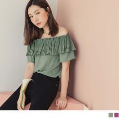 OrangeBear - Off-Shoulder Pleated Bib Chiffon Top