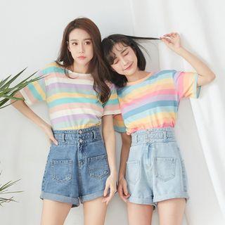 BAIMOMO - Striped Short-Sleeve T-Shirt
