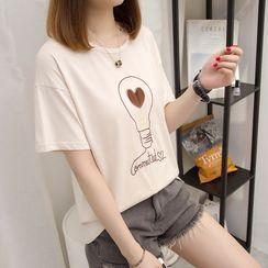 Cloud Nine - Light Bulb Embroidered Short-Sleeve T-Shirt