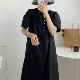 芷蓯夕 - 鈕扣短袖直身連衣中裙