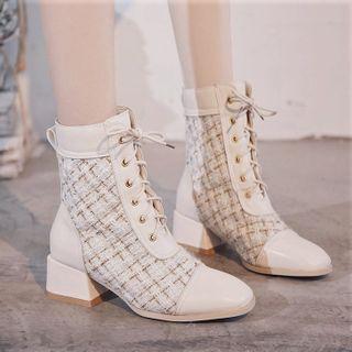 Weiya - Plaid Lace Up Block Heel Short Boots