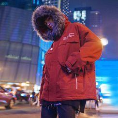 MOWAK - Faux Fur-Trim Hooded Coat