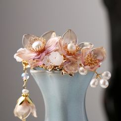 Kanzashi - Retro Faux Pearl Flower Hair Clip