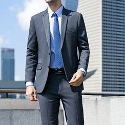 Princess Min - Set: Couple Matching Slim Fit Blazer + Long-Sleeve Shirt + Dress Pants