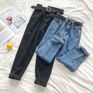 DIYI - 纯色高腰牛仔裤配腰带