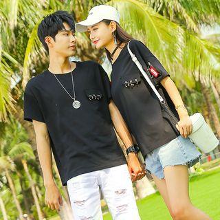 NoonSun - Couple Matching Ring Detail Short-Sleeve T-Shirt