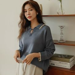 JUSTONE - Collared Tie-Neck Knit Top