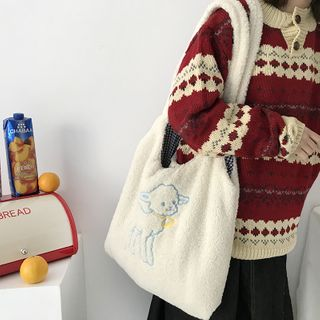 TangTangBags - Embroidered Lamb Fleece Shopper Bag