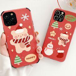 Primitivo - Christmas Bear Print Phone Case - iPhone 12 Pro Max / 12 Pro / 12 / 12 mini / 11 Pro Max / 11 Pro / 11 / SE / XS Max / XS / XR / X / SE 2 / 8 / 8 Plus / 7 / 7 Plus